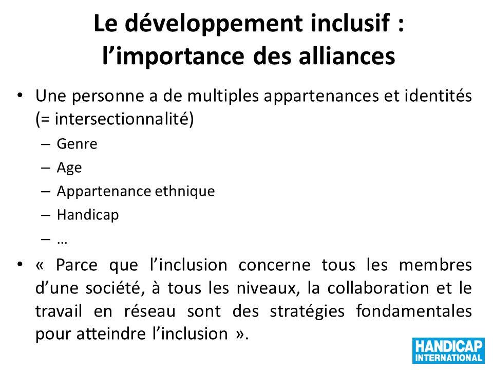 Le développement inclusif : limportance des alliances Une personne a de multiples appartenances et identités (= intersectionnalité) – Genre – Age – Ap