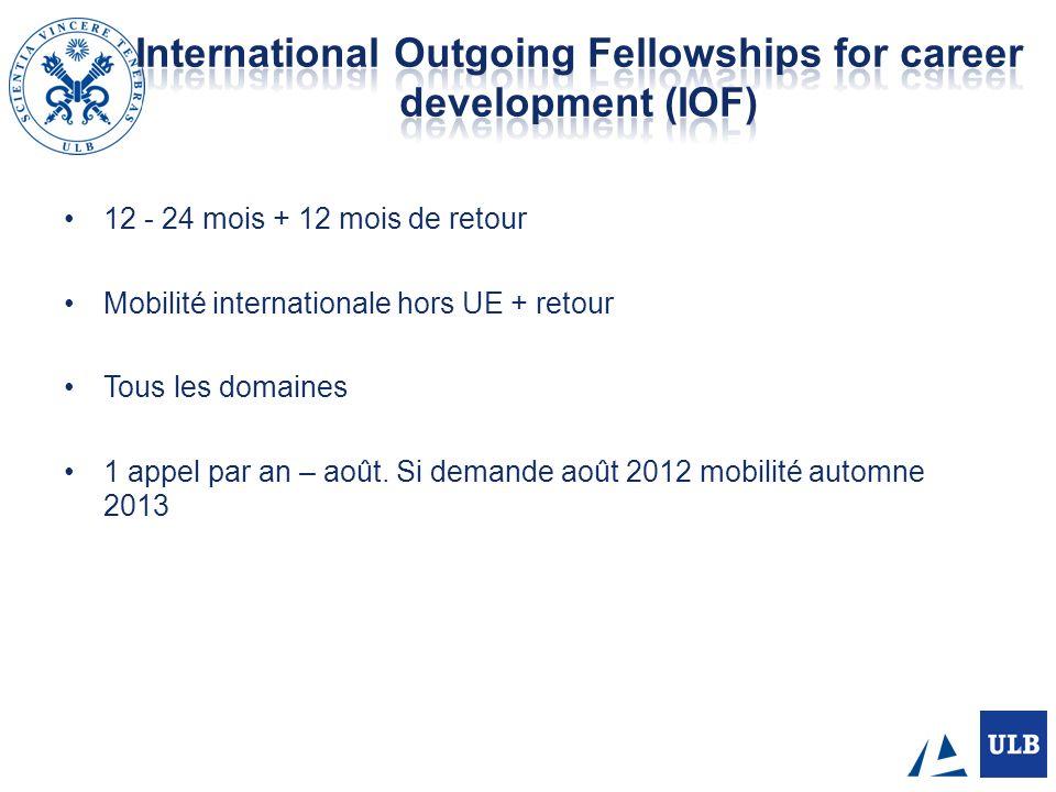 12 - 24 mois + 12 mois de retour Mobilité internationale hors UE + retour Tous les domaines 1 appel par an – août. Si demande août 2012 mobilité autom