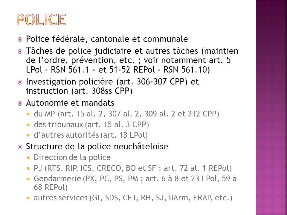 Police fédérale, cantonale et communale Tâches de police judiciaire et autres tâches (maintien de lordre, prévention, etc. ; voir notamment art. 5 LPo