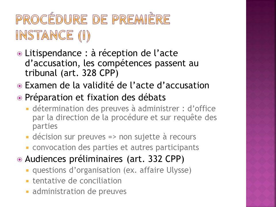 Litispendance : à réception de lacte daccusation, les compétences passent au tribunal (art. 328 CPP) Examen de la validité de lacte daccusation Prépar
