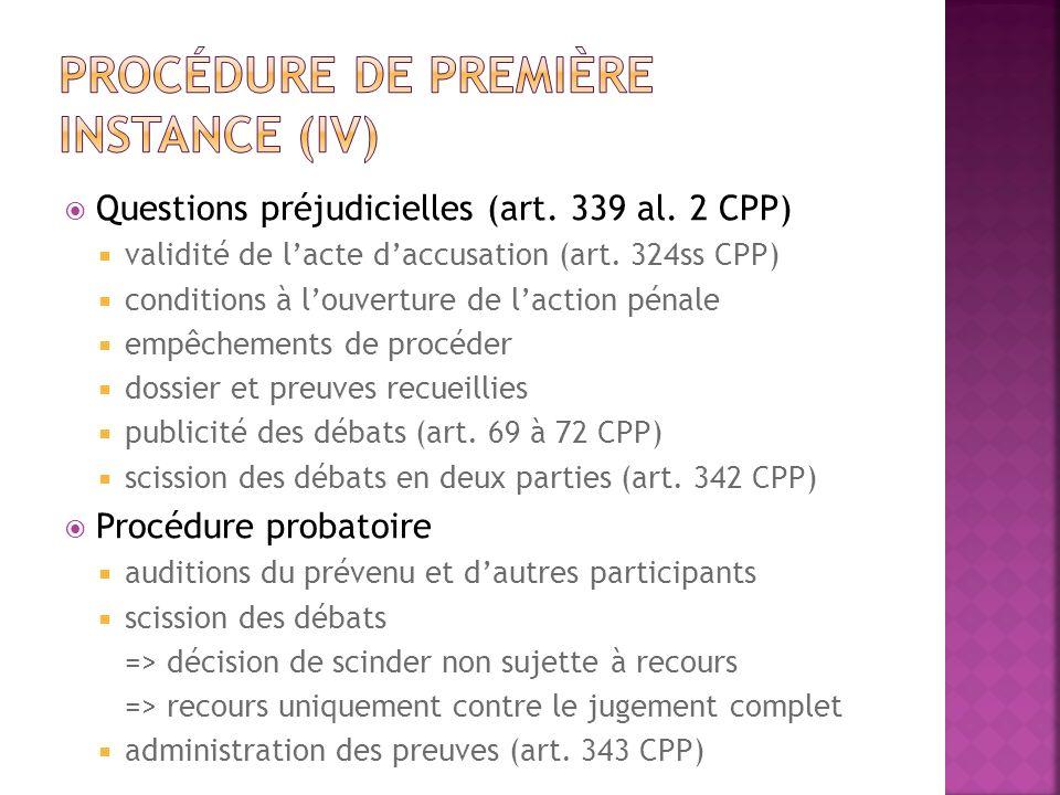 Questions préjudicielles (art. 339 al. 2 CPP) validité de lacte daccusation (art. 324ss CPP) conditions à louverture de laction pénale empêchements de