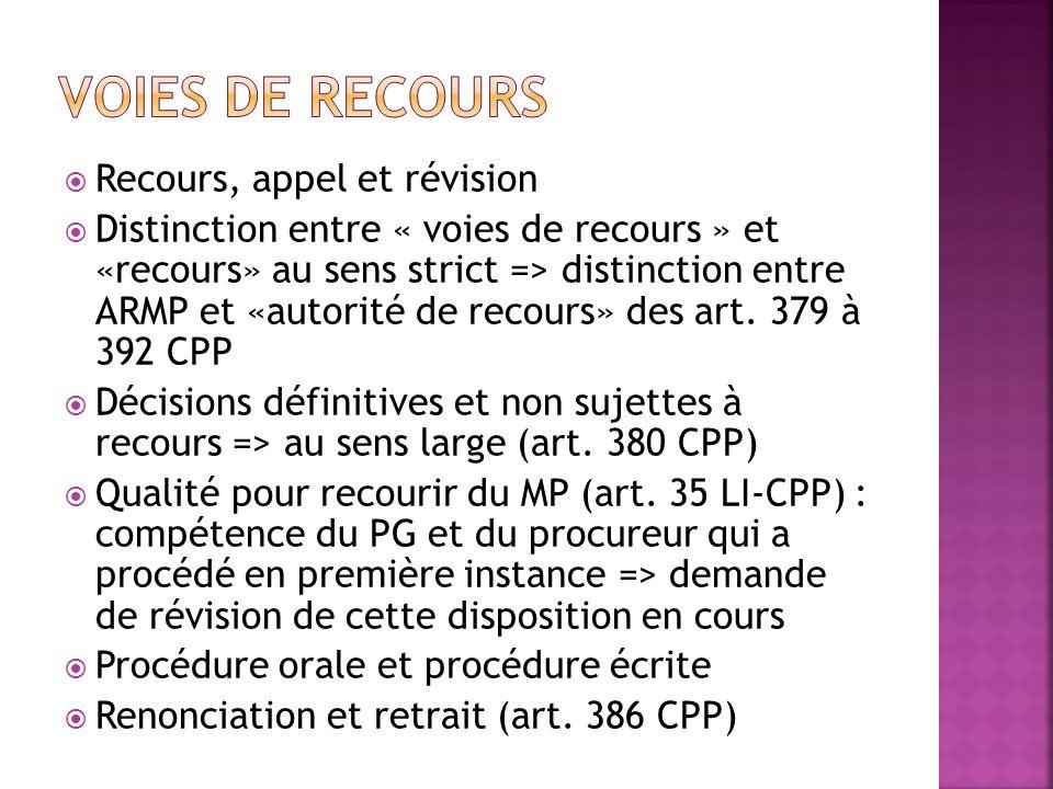 Recours, appel et révision Distinction entre « voies de recours » et «recours» au sens strict => distinction entre ARMP et «autorité de recours» des a