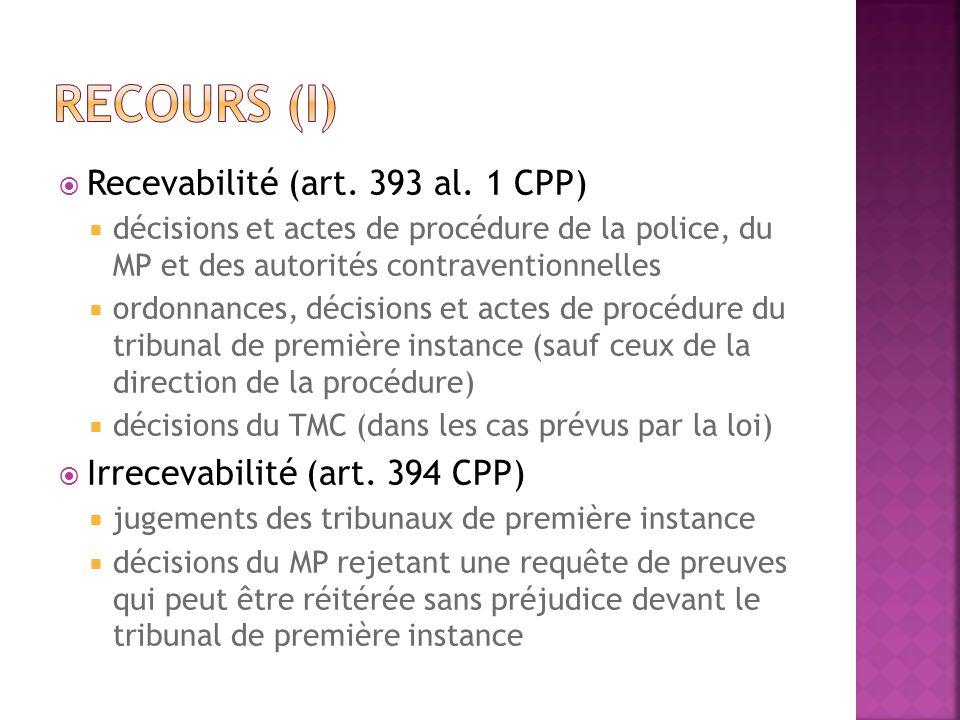 Recevabilité (art. 393 al. 1 CPP) décisions et actes de procédure de la police, du MP et des autorités contraventionnelles ordonnances, décisions et a
