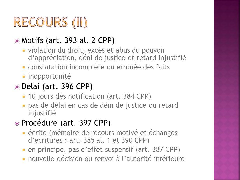 Motifs (art. 393 al. 2 CPP) violation du droit, excès et abus du pouvoir dappréciation, déni de justice et retard injustifié constatation incomplète o