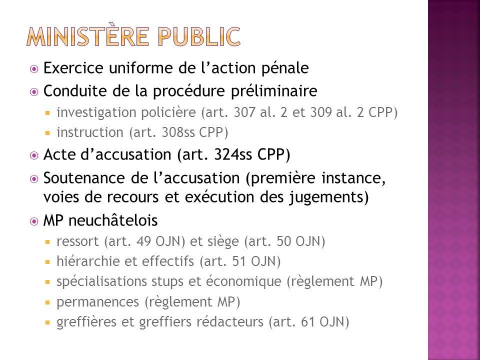 Exercice uniforme de laction pénale Conduite de la procédure préliminaire investigation policière (art. 307 al. 2 et 309 al. 2 CPP) instruction (art.