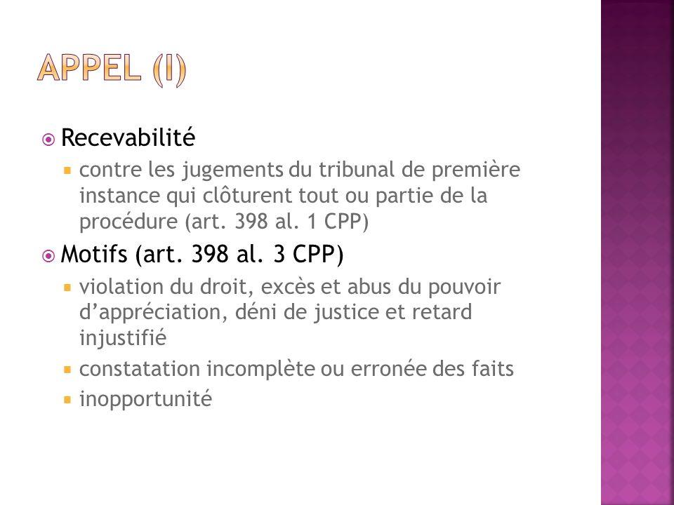 Recevabilité contre les jugements du tribunal de première instance qui clôturent tout ou partie de la procédure (art. 398 al. 1 CPP) Motifs (art. 398