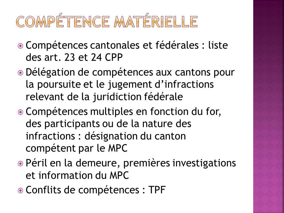 Compétences cantonales et fédérales : liste des art. 23 et 24 CPP Délégation de compétences aux cantons pour la poursuite et le jugement dinfractions