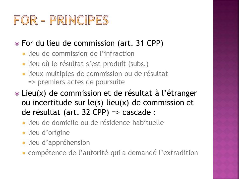 For du lieu de commission (art. 31 CPP) lieu de commission de linfraction lieu où le résultat sest produit (subs.) lieux multiples de commission ou de