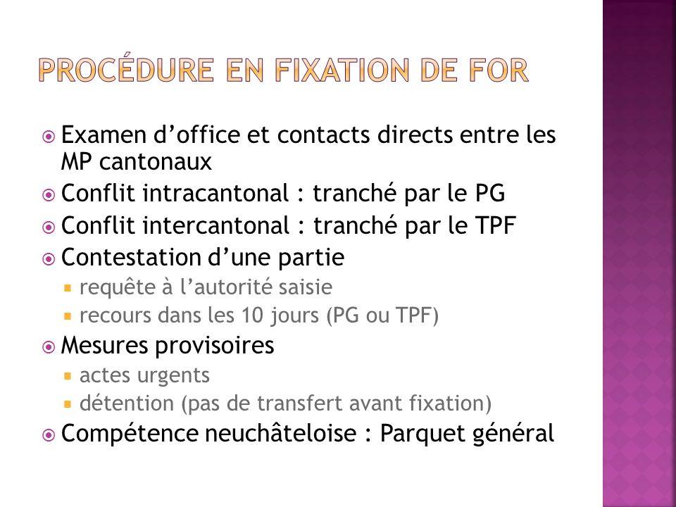 Examen doffice et contacts directs entre les MP cantonaux Conflit intracantonal : tranché par le PG Conflit intercantonal : tranché par le TPF Contest