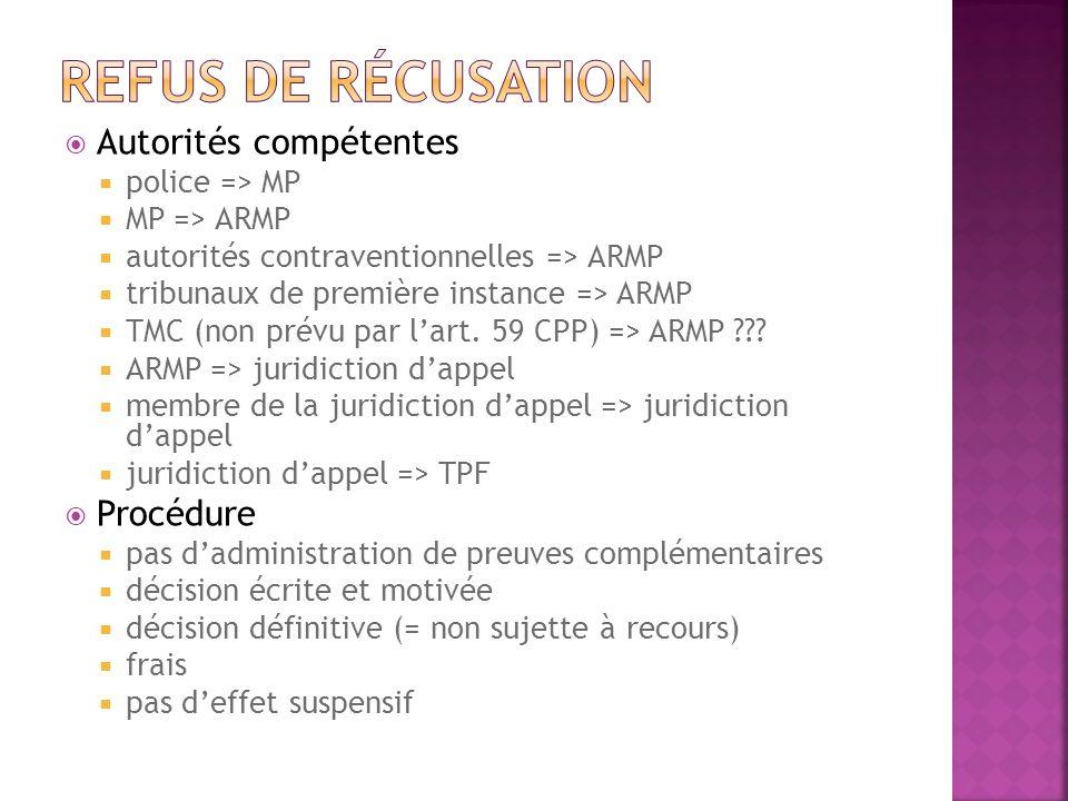 Autorités compétentes police => MP MP => ARMP autorités contraventionnelles => ARMP tribunaux de première instance => ARMP TMC (non prévu par lart. 59