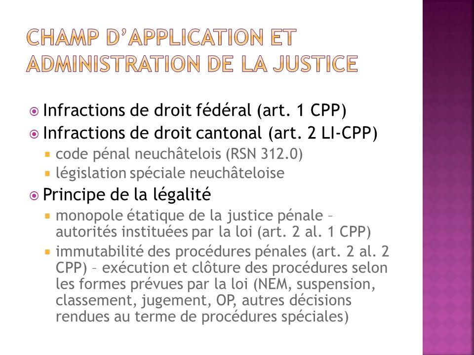 Infractions de droit fédéral (art. 1 CPP) Infractions de droit cantonal (art. 2 LI-CPP) code pénal neuchâtelois (RSN 312.0) législation spéciale neuch