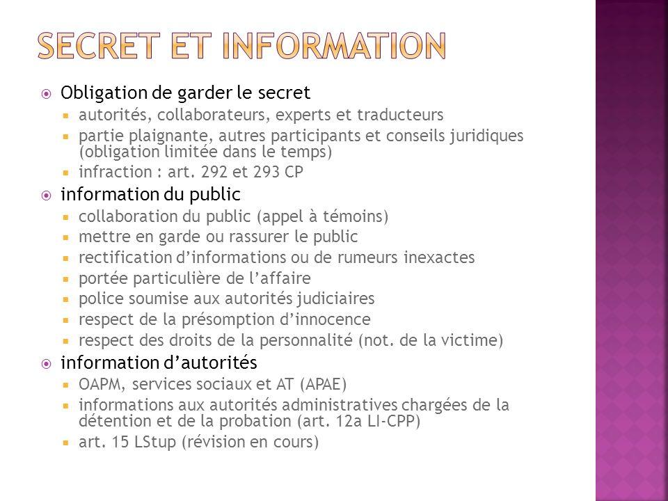 Obligation de garder le secret autorités, collaborateurs, experts et traducteurs partie plaignante, autres participants et conseils juridiques (obliga