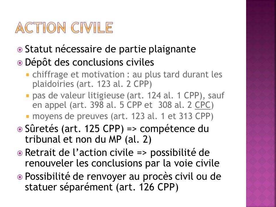 Statut nécessaire de partie plaignante Dépôt des conclusions civiles chiffrage et motivation : au plus tard durant les plaidoiries (art. 123 al. 2 CPP
