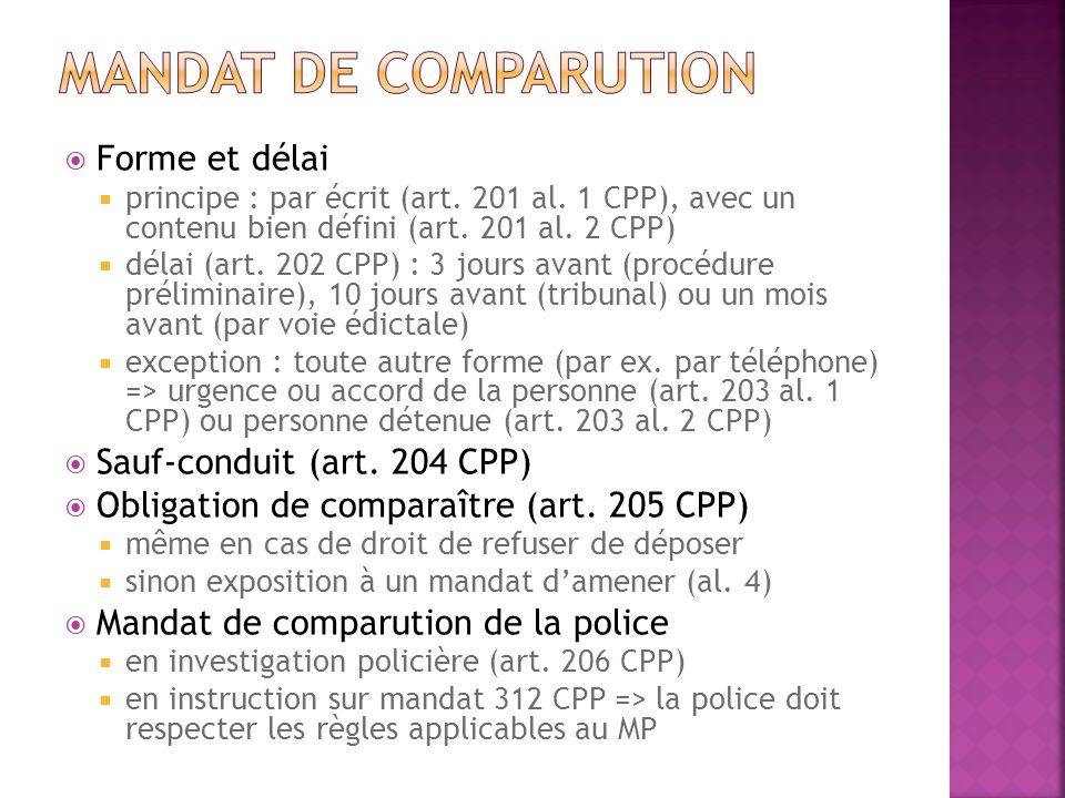 Forme et délai principe : par écrit (art. 201 al. 1 CPP), avec un contenu bien défini (art. 201 al. 2 CPP) délai (art. 202 CPP) : 3 jours avant (procé