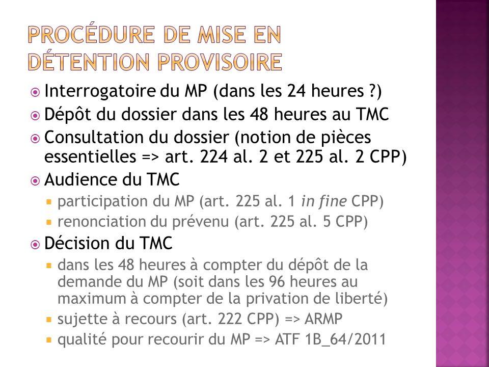 Interrogatoire du MP (dans les 24 heures ?) Dépôt du dossier dans les 48 heures au TMC Consultation du dossier (notion de pièces essentielles => art.