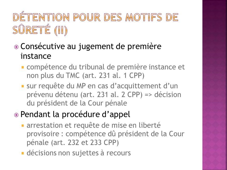 Consécutive au jugement de première instance compétence du tribunal de première instance et non plus du TMC (art. 231 al. 1 CPP) sur requête du MP en