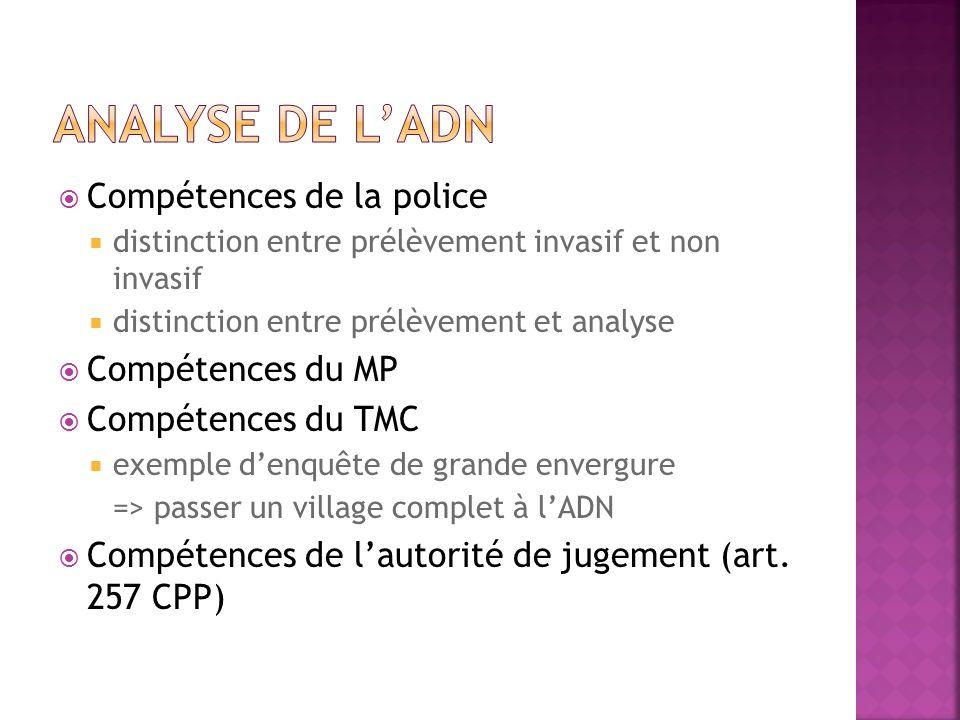 Compétences de la police distinction entre prélèvement invasif et non invasif distinction entre prélèvement et analyse Compétences du MP Compétences d
