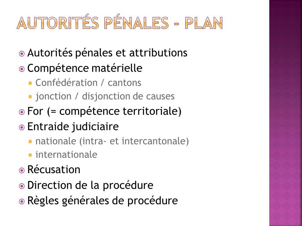 Autorités pénales et attributions Compétence matérielle Confédération / cantons jonction / disjonction de causes For (= compétence territoriale) Entra