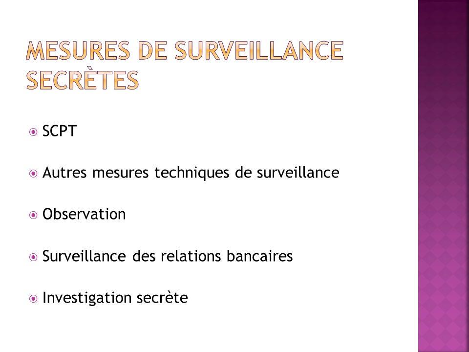 SCPT Autres mesures techniques de surveillance Observation Surveillance des relations bancaires Investigation secrète