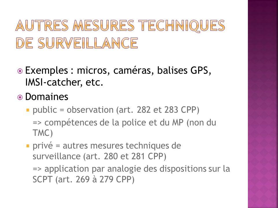 Exemples : micros, caméras, balises GPS, IMSI-catcher, etc. Domaines public = observation (art. 282 et 283 CPP) => compétences de la police et du MP (