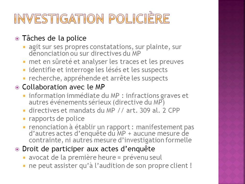 Tâches de la police agit sur ses propres constatations, sur plainte, sur dénonciation ou sur directives du MP met en sûreté et analyser les traces et
