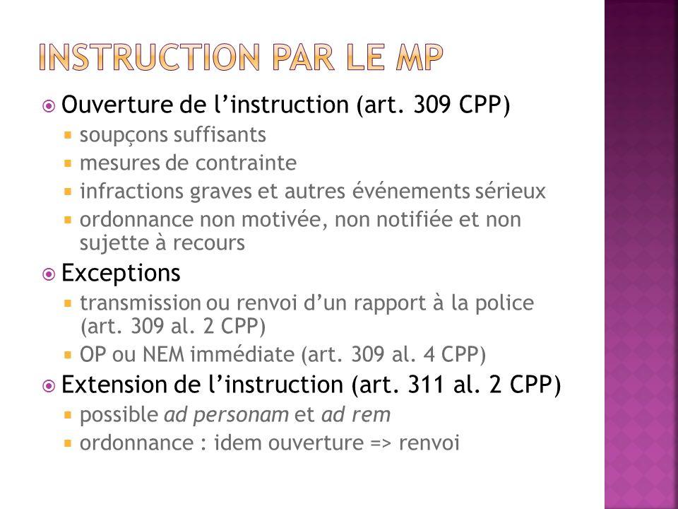 Ouverture de linstruction (art. 309 CPP) soupçons suffisants mesures de contrainte infractions graves et autres événements sérieux ordonnance non moti