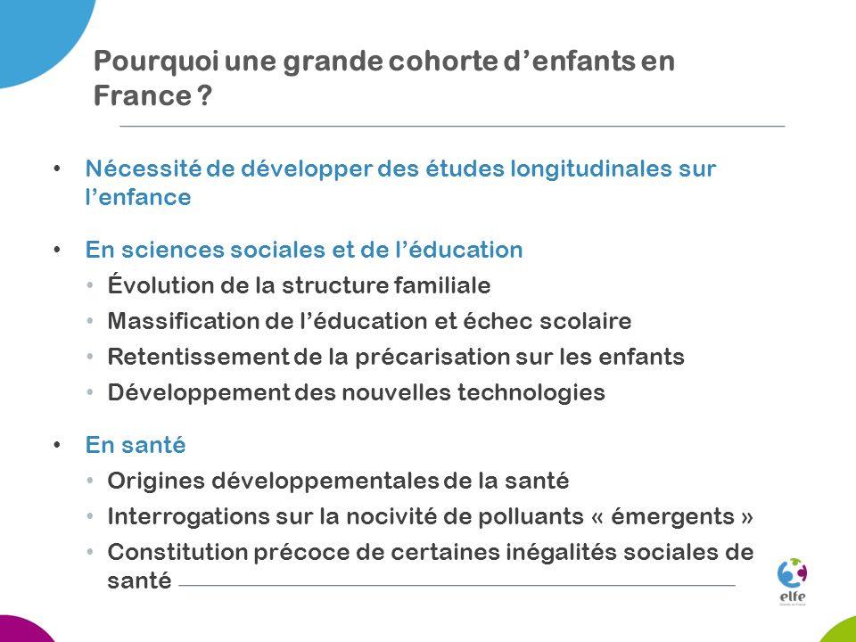 Pourquoi une grande cohorte denfants en France ? Nécessité de développer des études longitudinales sur lenfance En sciences sociales et de léducation
