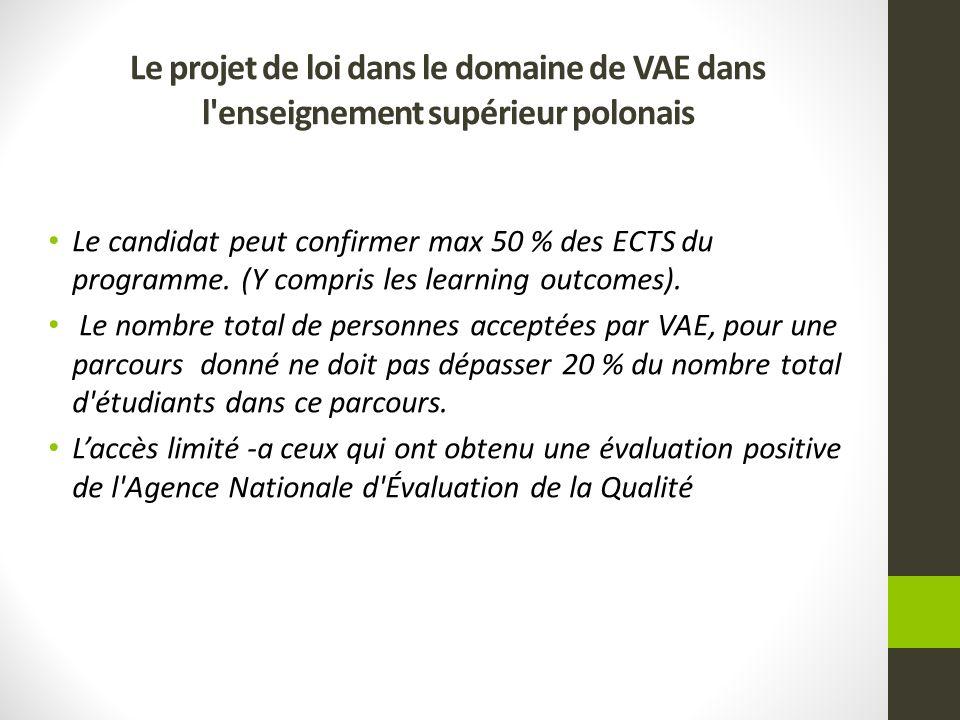 Le candidat peut confirmer max 50 % des ECTS du programme. (Y compris les learning outcomes). Le nombre total de personnes acceptées par VAE, pour une