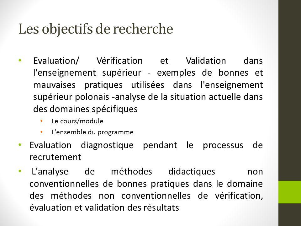 Les objectifs de recherche Evaluation/ Vérification et Validation dans l'enseignement supérieur - exemples de bonnes et mauvaises pratiques utilisées