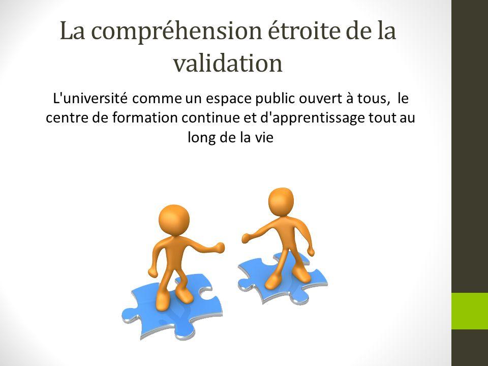 La compréhension étroite de la validation L'université comme un espace public ouvert à tous, le centre de formation continue et d'apprentissage tout a