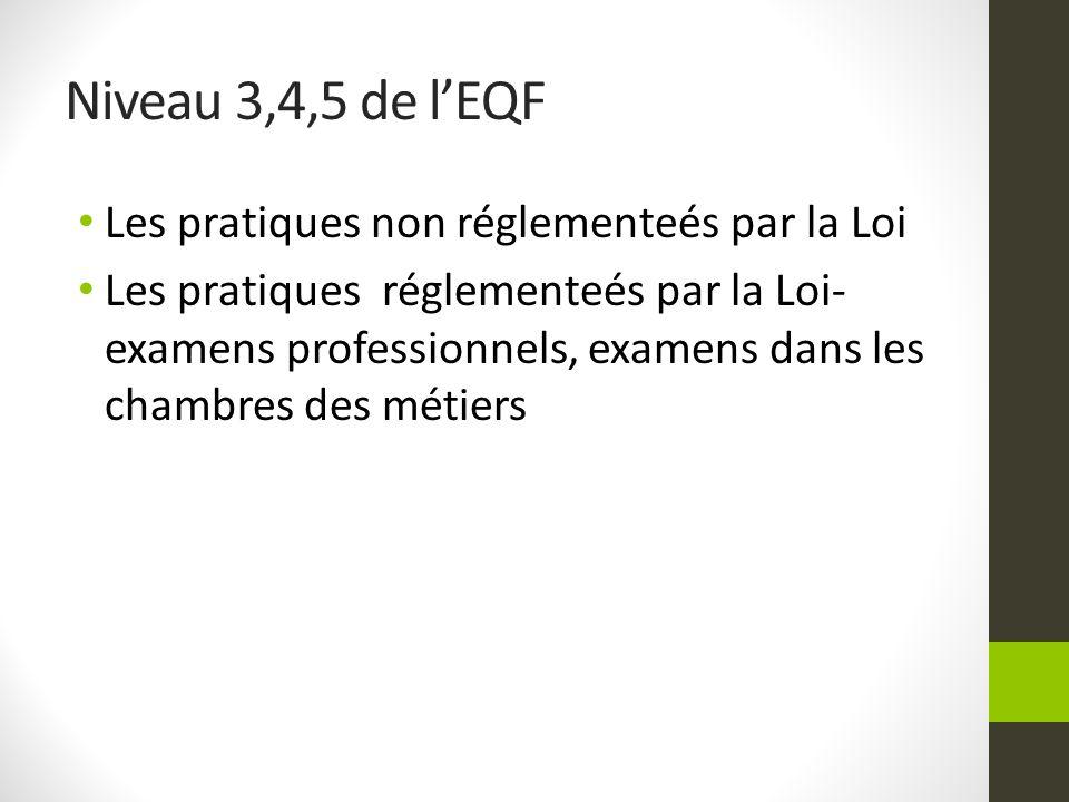 Niveau 3,4,5 de lEQF Les pratiques non réglementeés par la Loi Les pratiques réglementeés par la Loi- examens professionnels, examens dans les chambre