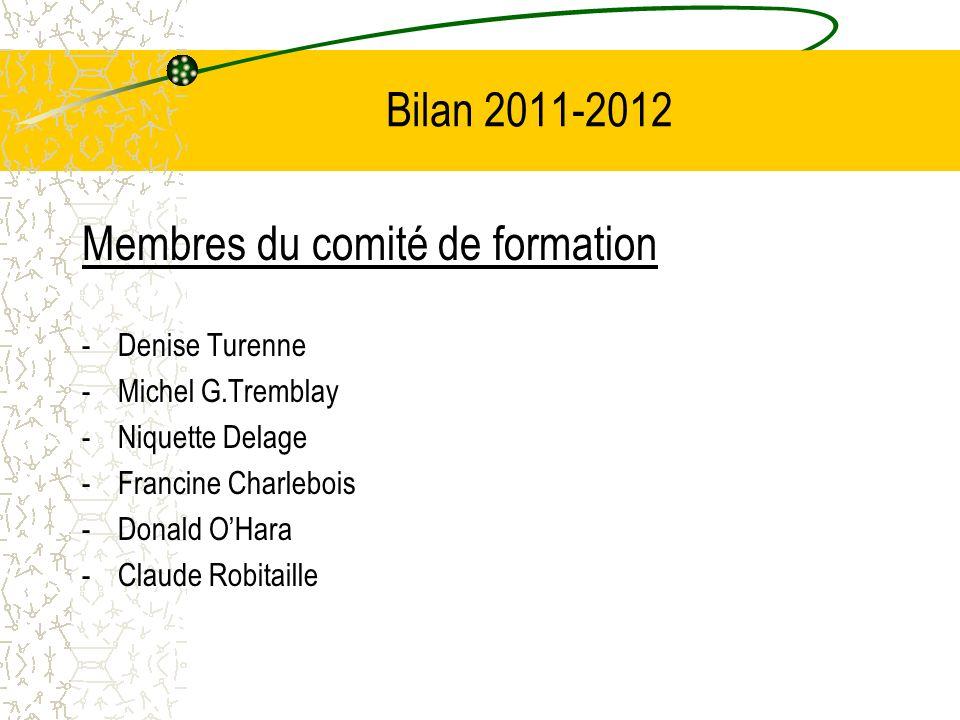 Bilan 2011-2012 Membres du comité de formation -Denise Turenne -Michel G.Tremblay -Niquette Delage -Francine Charlebois -Donald OHara -Claude Robitail