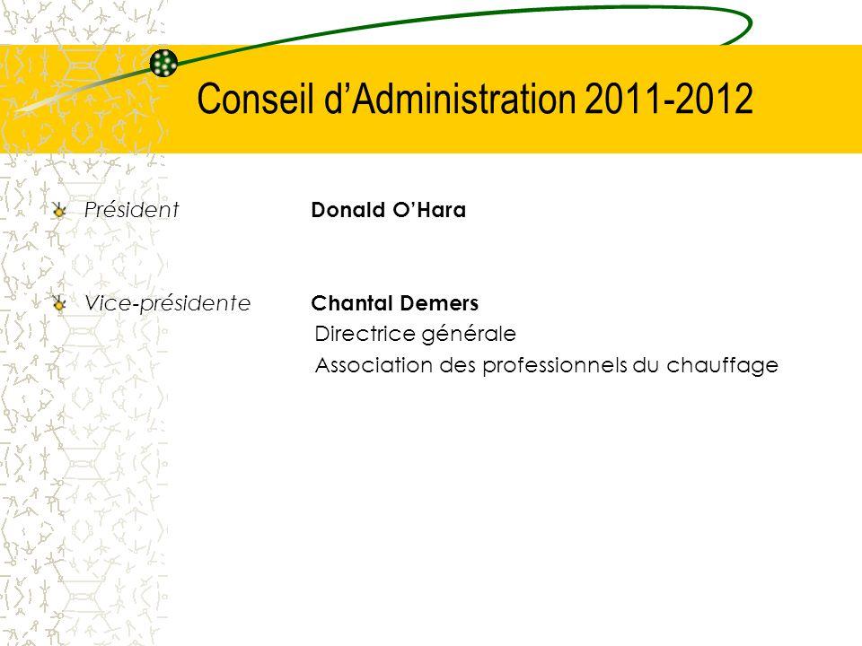 Conseil dAdministration 2011-2012 Président Donald OHara Vice-présidente Chantal Demers Directrice générale Association des professionnels du chauffag