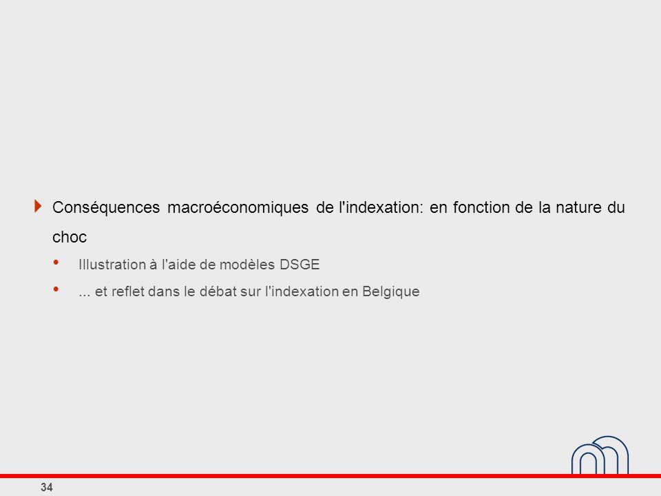 Conséquences macroéconomiques de l indexation: en fonction de la nature du choc Illustration à l aide de modèles DSGE...