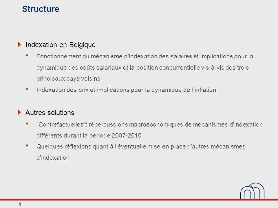 Structure Indexation en Belgique Fonctionnement du mécanisme d indexation des salaires et implications pour la dynamique des coûts salariaux et la position concurrentielle vis-à-vis des trois principaux pays voisins Indexation des prix et implications pour la dynamique de l inflation Autres solutions Contrefactuelles : répercussions macroéconomiques de mécanismes d indexation différents durant la période 2007-2010 Quelques réflexions quant à l éventuelle mise en place d autres mécanismes d indexation 4