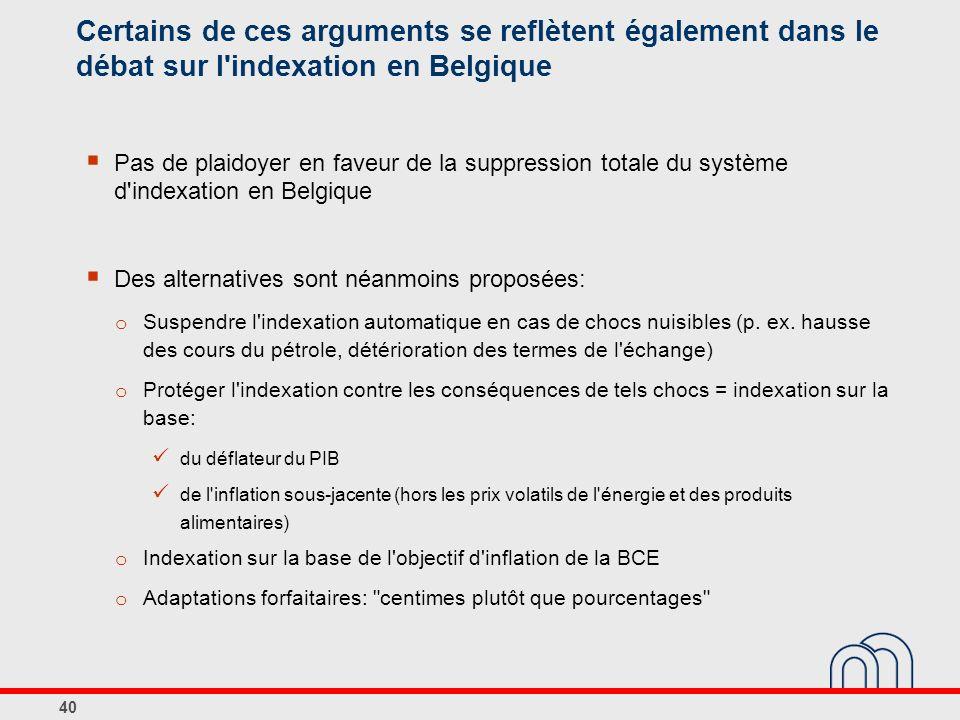 40 Certains de ces arguments se reflètent également dans le débat sur l indexation en Belgique Pas de plaidoyer en faveur de la suppression totale du système d indexation en Belgique Des alternatives sont néanmoins proposées: o Suspendre l indexation automatique en cas de chocs nuisibles (p.