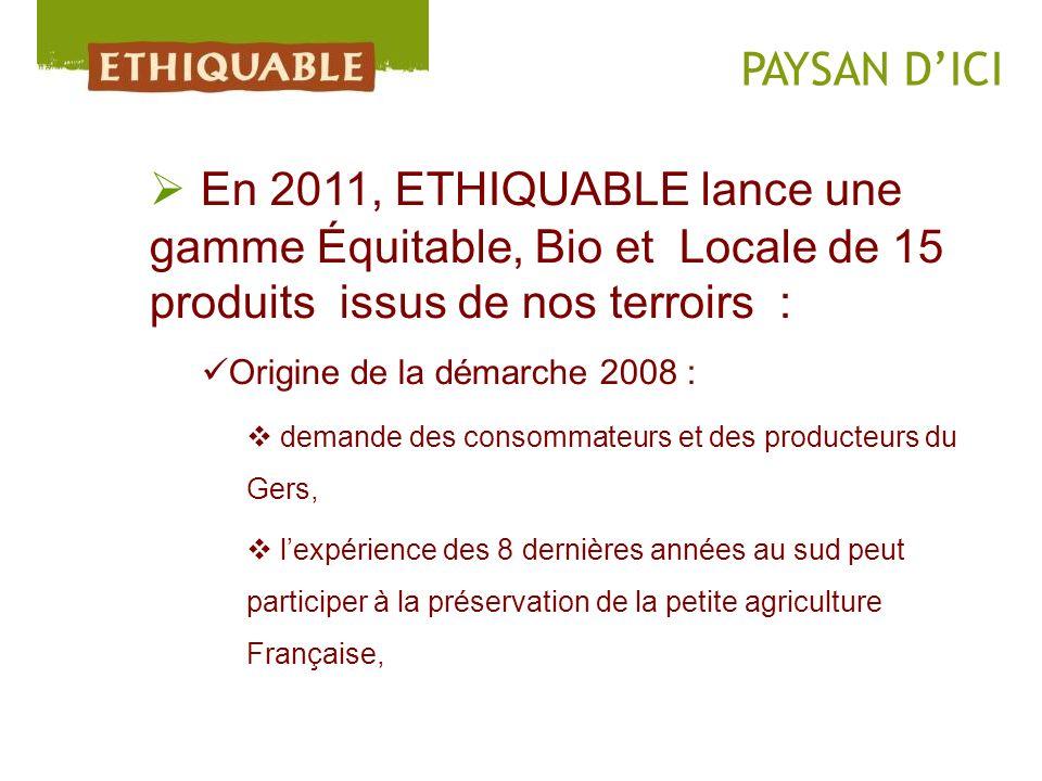 En 2011, ETHIQUABLE lance une gamme Équitable, Bio et Locale de 15 produits issus de nos terroirs : Origine de la démarche 2008 : demande des consomma