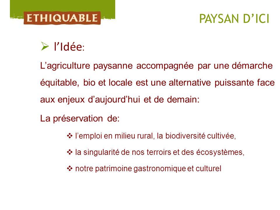 lIdée : Lagriculture paysanne accompagnée par une démarche équitable, bio et locale est une alternative puissante face aux enjeux daujourdhui et de de