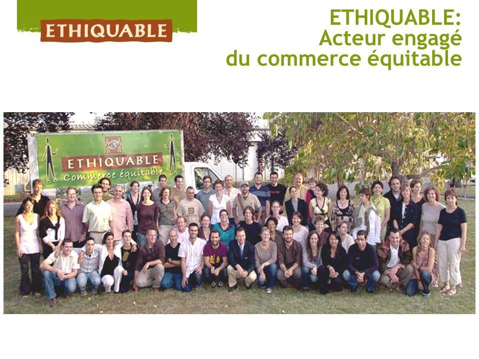 ETHIQUABLE en 2011, cest : 60 salariés dont 55 associés (F: 60% & H: 40%), 48 Coopératives partenaires dans 20 pays, 47 000 familles concernées, + de 40% des produits fabriqués sur place, C.A.