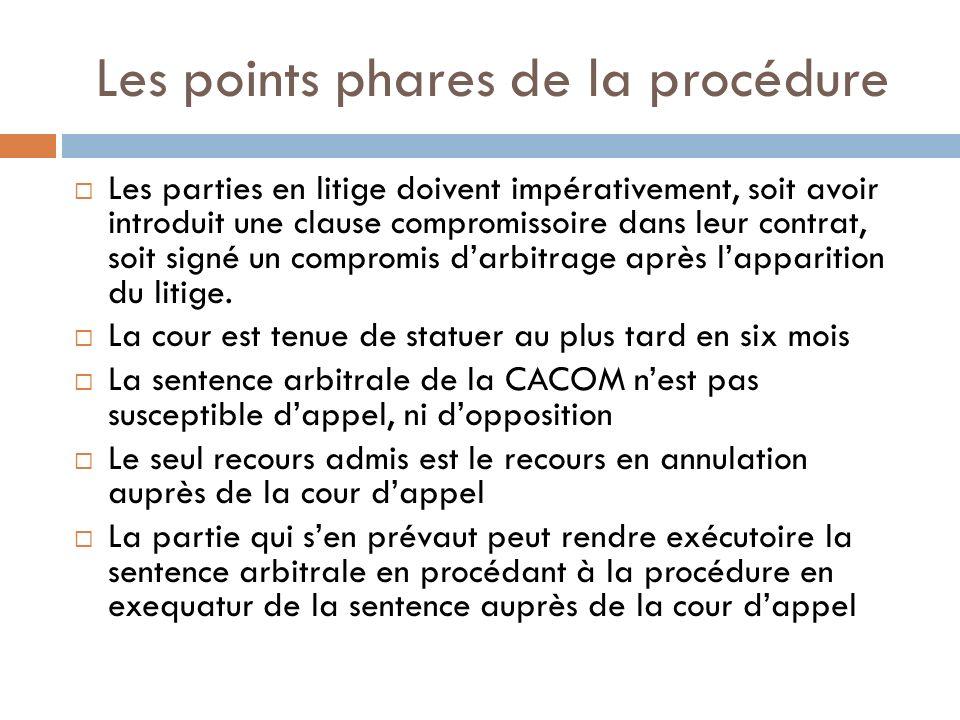 Les points phares de la procédure Les parties en litige doivent impérativement, soit avoir introduit une clause compromissoire dans leur contrat, soit signé un compromis darbitrage après lapparition du litige.