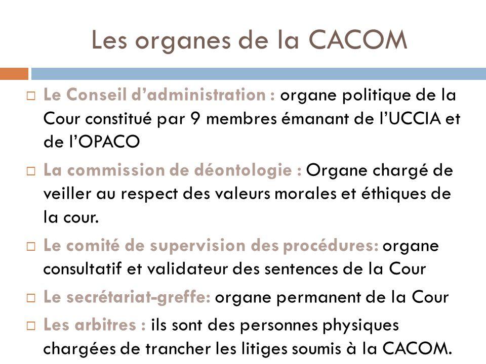Les organes de la CACOM Le Conseil dadministration : organe politique de la Cour constitué par 9 membres émanant de lUCCIA et de lOPACO La commission de déontologie : Organe chargé de veiller au respect des valeurs morales et éthiques de la cour.