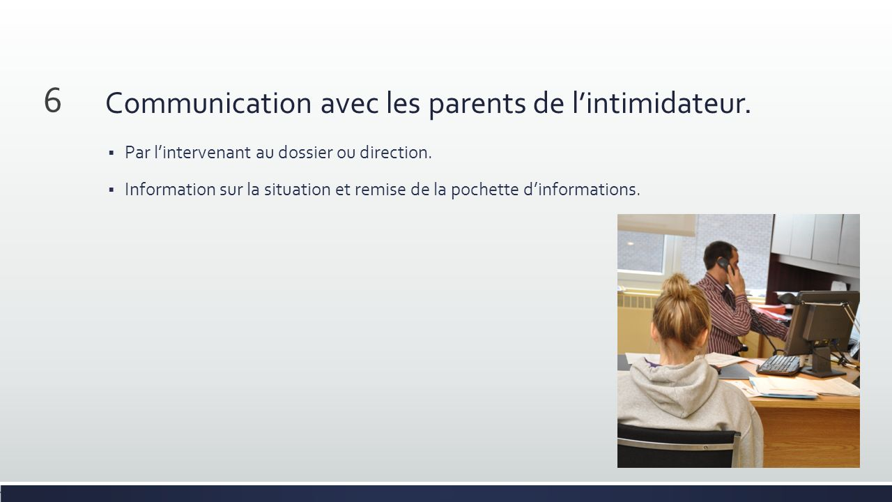 Communication avec les parents de lintimidateur. Par lintervenant au dossier ou direction. Information sur la situation et remise de la pochette dinfo