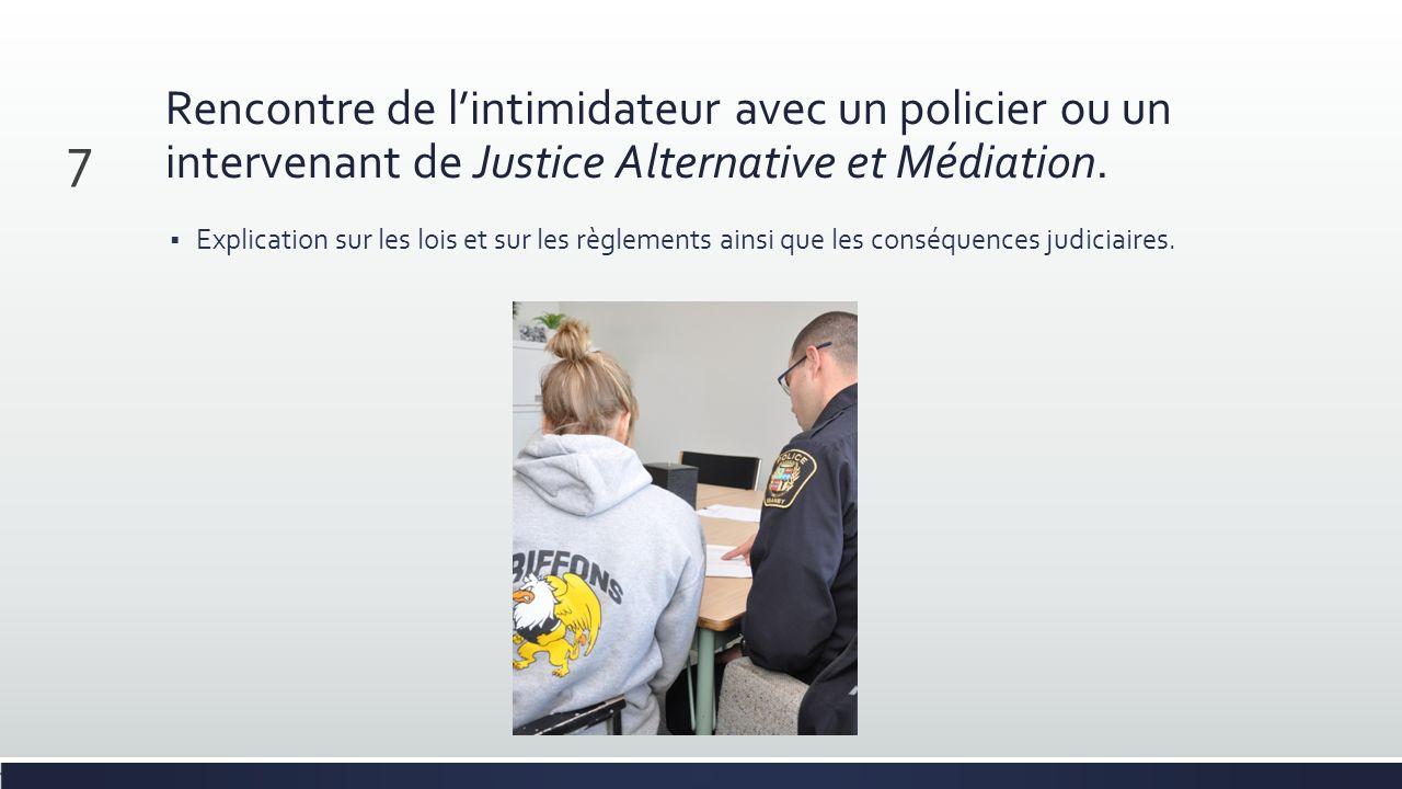 Rencontre de lintimidateur avec un policier ou un intervenant de Justice Alternative et Médiation. Explication sur les lois et sur les règlements ains