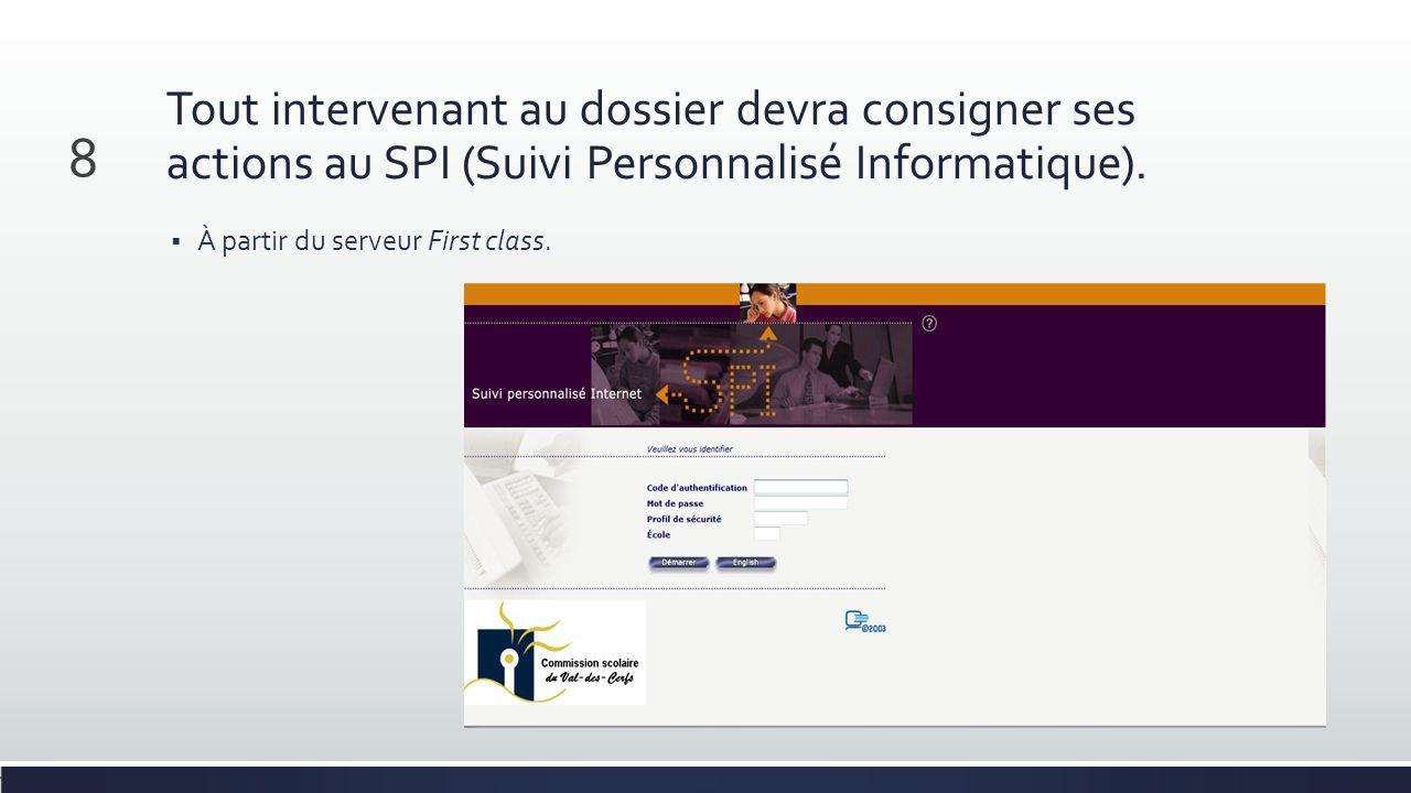 Tout intervenant au dossier devra consigner ses actions au SPI (Suivi Personnalisé Informatique). À partir du serveur First class. 8