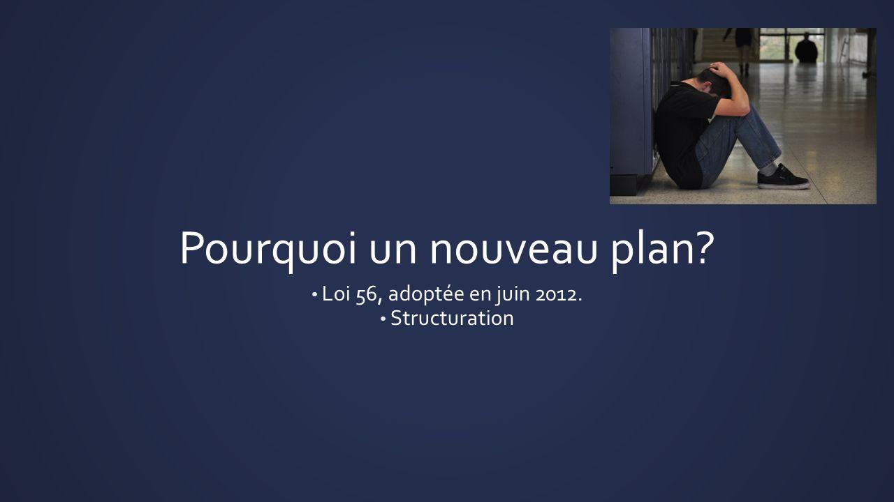 Pourquoi un nouveau plan? Loi 56, adoptée en juin 2012. Structuration