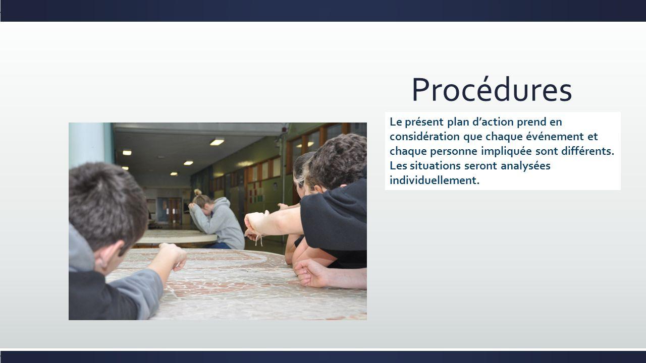 Procédures Le présent plan daction prend en considération que chaque événement et chaque personne impliquée sont différents. Les situations seront ana