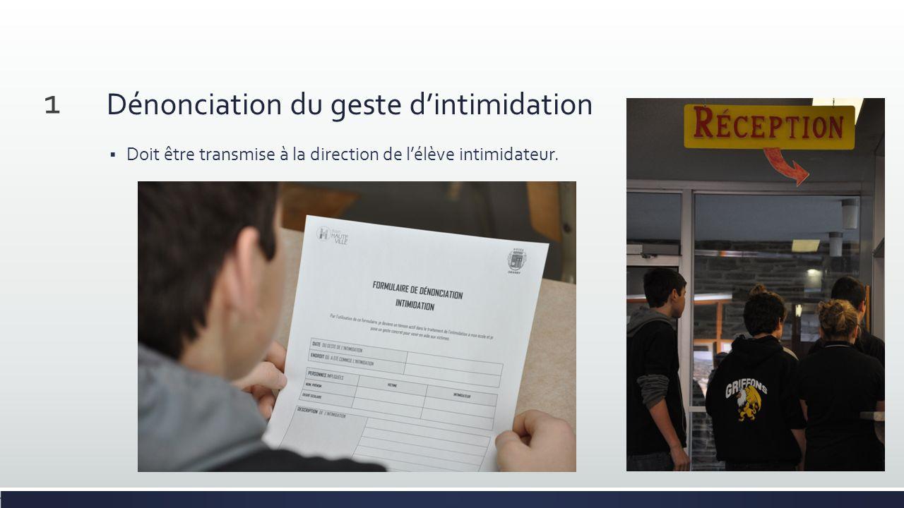 Dénonciation du geste dintimidation Doit être transmise à la direction de lélève intimidateur. 1