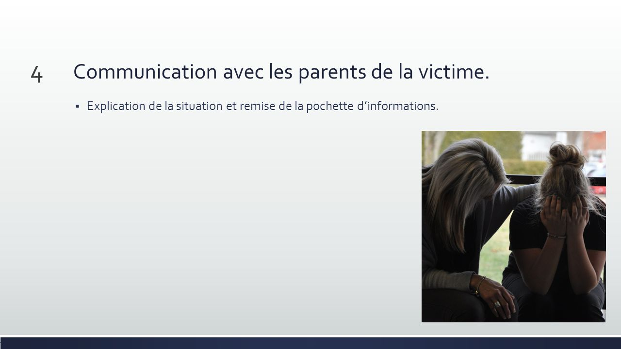 Communication avec les parents de la victime.