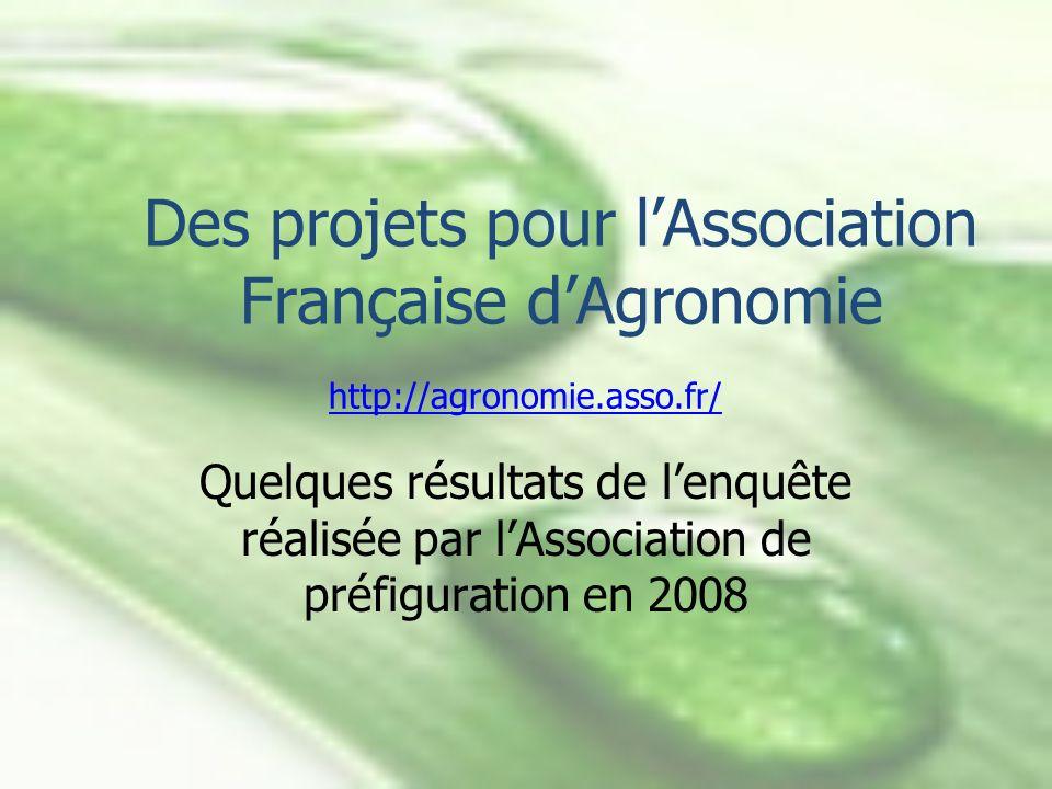 Des projets pour lAssociation Française dAgronomie Quelques résultats de lenquête réalisée par lAssociation de préfiguration en 2008 http://agronomie.