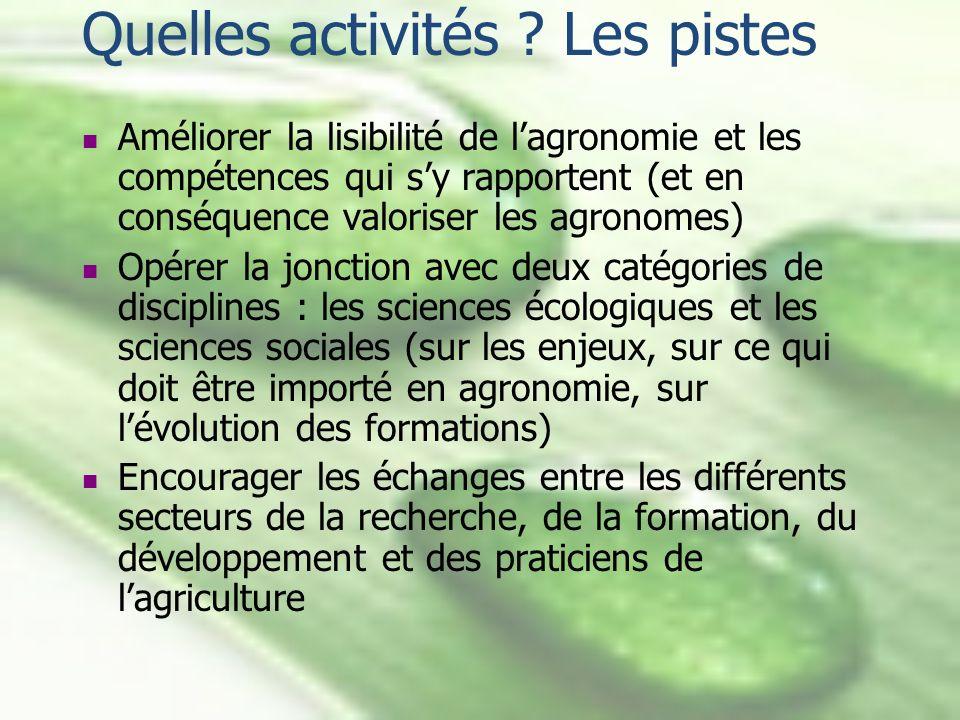 Quelles activités ? Les pistes Améliorer la lisibilité de lagronomie et les compétences qui sy rapportent (et en conséquence valoriser les agronomes)